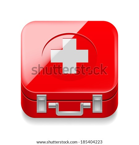 Raster version. Icon of red first-aid kit on white background - stock photo