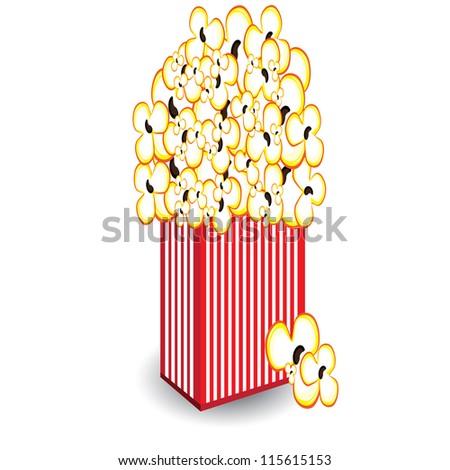 Raster version. Illustration of a bucket of popcorn, a designer on a white background - stock photo