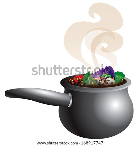 Raster version Illustration of a Chunky Vegetable Soup Pot Steaming with smoke. - stock photo