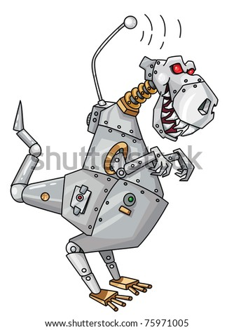 raster version illustration of a dinorobot - stock photo
