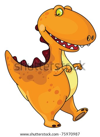 raster version illustration of a funny dinosaur - stock photo