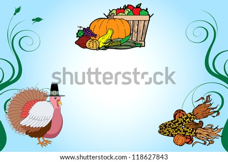 Raster version Illustration of a Thanksgiving Turkey Background with fruit basket and corn. - stock photo