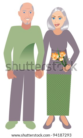 Raster version Illustration of an old happy couple in love. - stock photo