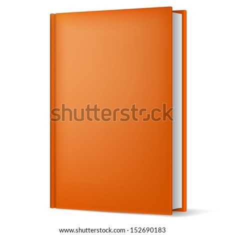 Raster version. Illustration of classic light brown book in front vertical view isolated on white background. - stock photo