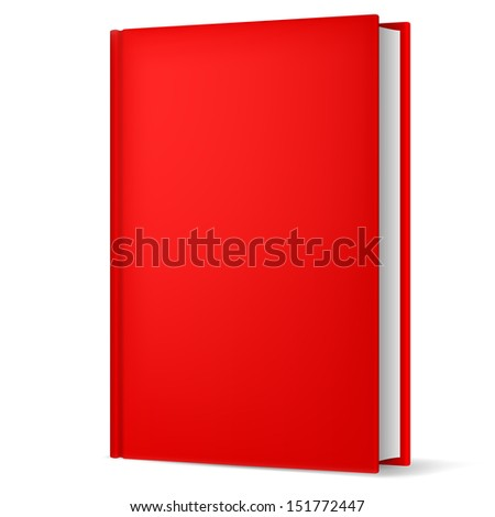 Raster version. Illustration of classic red book in front vertical view isolated on white background. - stock photo
