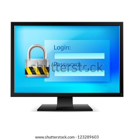 Raster version. Illustration of computer with lock on white background - stock photo