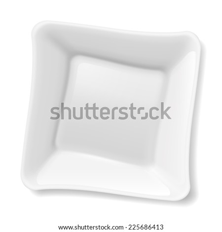 Raster version. Illustration of empty square white plate isolated on white background  - stock photo