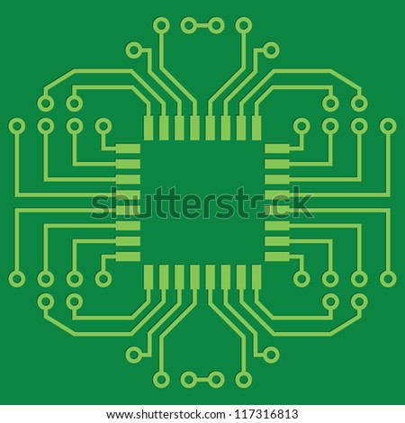 Raster version. Illustration of Green Seamless Printed Circuit Board - stock photo