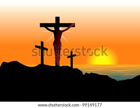 Raster version Illustration of Jesus Christ on cross. Easter Resurrection. - stock photo