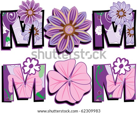Raster version Illustration of Mom Text 1 in two versions. I am also selling the Floral pattern separately. - stock photo