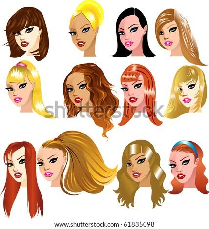 Raster version Illustration of White Women Faces. Great for avatars, makeup, skin tones or hair styles of Caucasian women. - stock photo