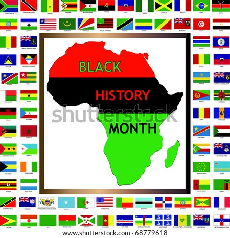 Raster version Illustration showing African and black cultured flags for Black History Month. - stock photo