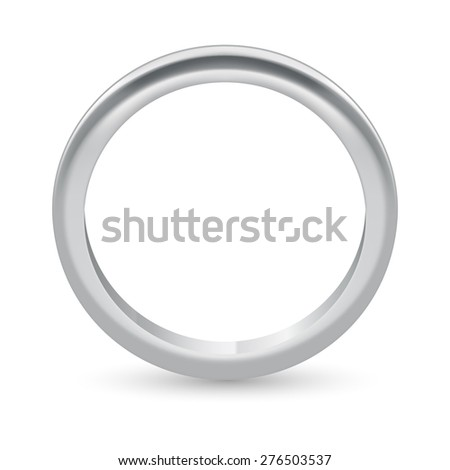 Raster version. Illustration silver ring  isolated on a white - stock photo