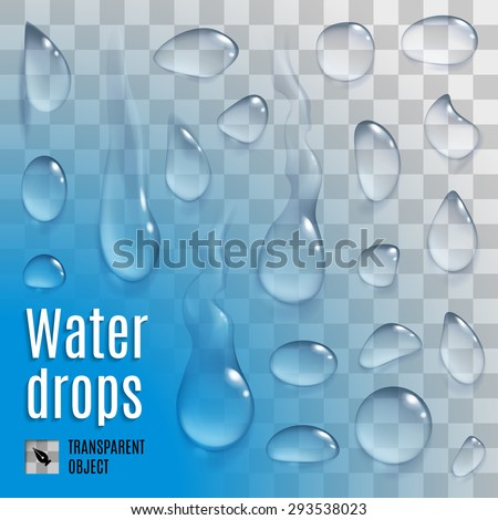 Raster version. Isolated set of transperent a water drops