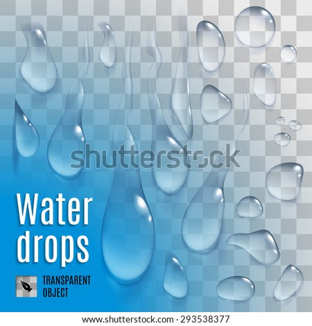 Raster version. Isolated set of transperent variety water drops