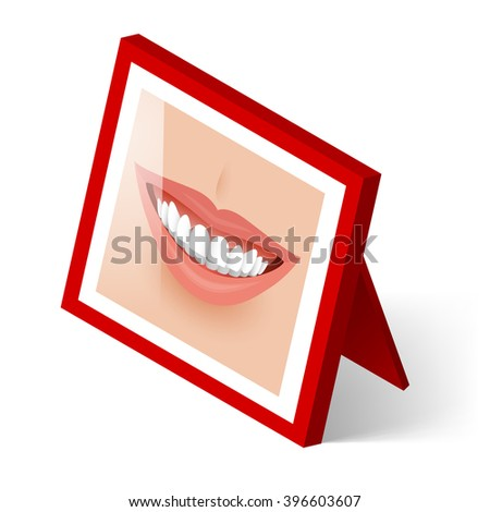 Raster version. Isometric Red Frame with Smiling Mouth on White - stock photo