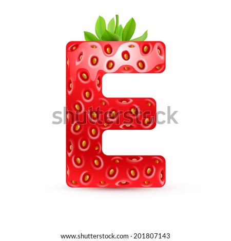 Raster version. Letter E in strawberry style with green leaves - stock photo