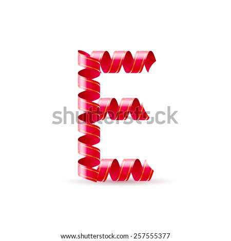 Raster version. Letter E made of red curled shiny ribbon