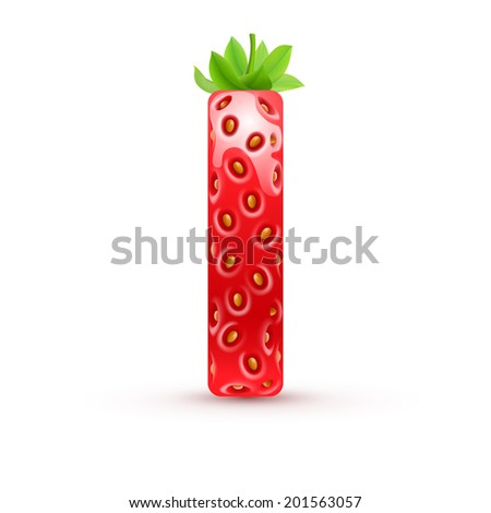Raster version. Letter I in strawberry style with green leaves - stock photo