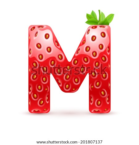 Raster version. Letter M in strawberry style with green leaves - stock photo
