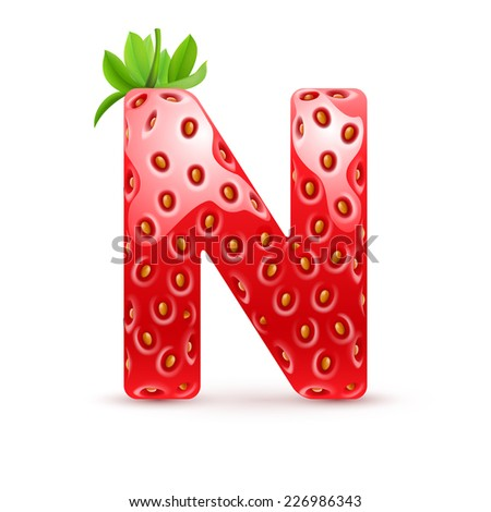 Raster version. Letter N in strawberry style with green leaves  - stock photo