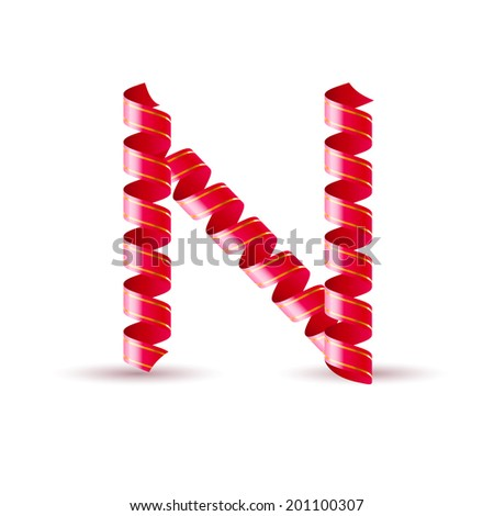Raster version. Letter N made of red curled shiny ribbon - stock photo