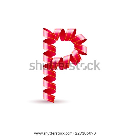 Raster version. Letter P made of red curled shiny ribbon  - stock photo