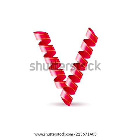 Raster version. Letter V made of red curled shiny ribbon  - stock photo