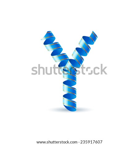 Raster version. Letter Y made of blue curled shiny ribbon  - stock photo
