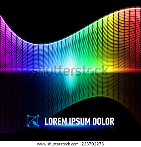 Raster version. Luminous background with colorful digital music equalizer - stock photo
