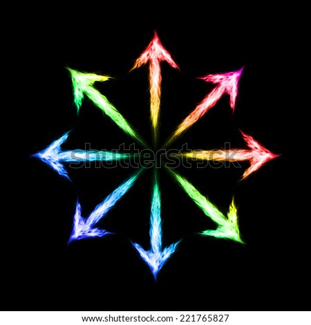 Raster version. Many colorful fire arrows directed outwards. Illustration on black background  - stock photo