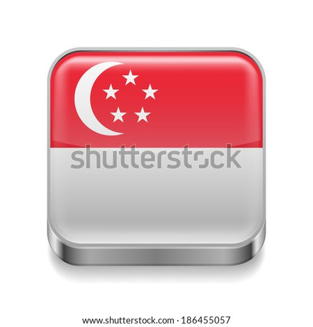 Raster version. Metal square icon with flag colors of Singapore - stock photo