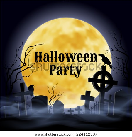 Raster version. Misty graveyard with crooked  crosses and an evil  raven under full Moon. Halloween Party poster in Gothic style.  - stock photo