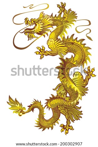 Raster version /  Moving up the golden oriental dragon on a white background - stock photo