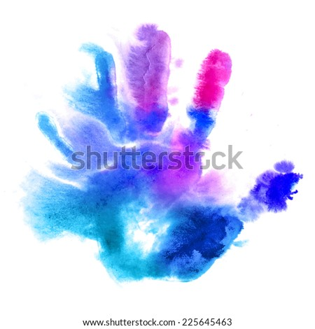 Raster version. Multicolored human hand print in watercolor style  - stock photo