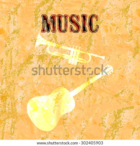 Raster version musical background with acoustic guitar and shadow shadow tubes on textured background - stock photo
