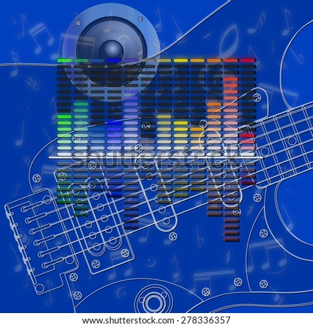raster version musical design, equalizer and guitar strings - stock photo