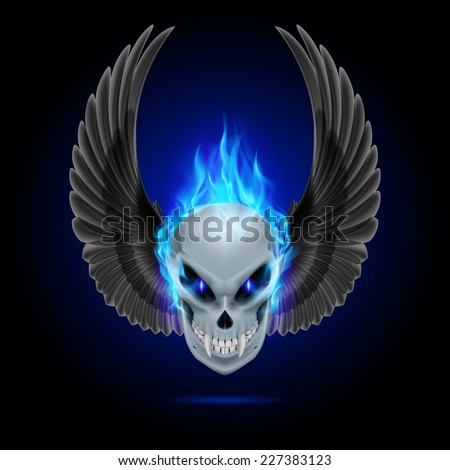 Raster version. Mutant skull with long fangs, blue flame and raised wings  - stock photo