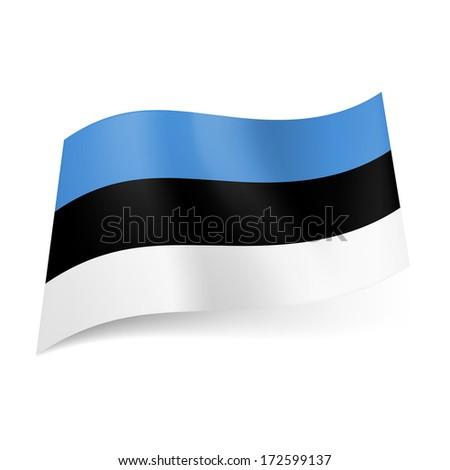 Raster version. National flag of Estonia: blue, black and white horizontal stripes.  - stock photo