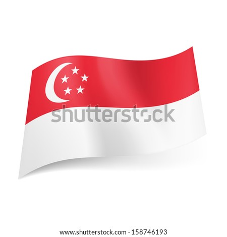 Raster version. National flag of Singapore: red stripe with crescent moon and five stars in circle above white one. - stock photo