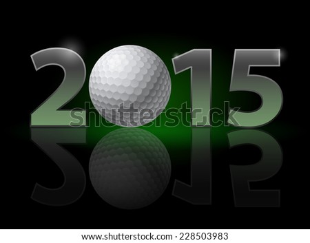 Raster version. New Year 2015: metal numerals with golf ball instead of zero having weak reflection. Illustration on black background.  - stock photo
