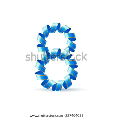 Raster version. Number eight made of blue curled shiny ribbon  - stock photo