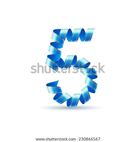Raster version. Number five made of blue curled shiny ribbon  - stock photo