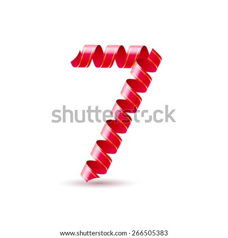 Raster version. Number seven made of red curled shiny ribbon