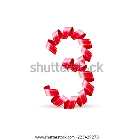 Raster version. Number three made of red curled shiny ribbon  - stock photo