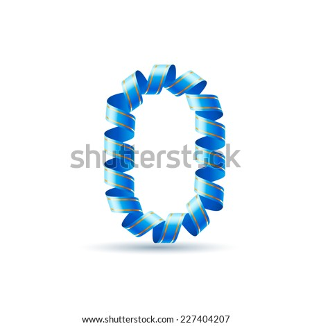 Raster version. Number zero made of blue curled shiny ribbon  - stock photo