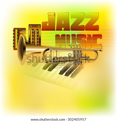 Raster version of a jazz background music, trumpet, guitar strings on the background Clavey piano with blurred multicolored texture - stock photo