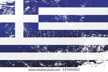 Raster version of a light grunge effect flag of Greece. Vector file is also available in my portfolio. - stock photo