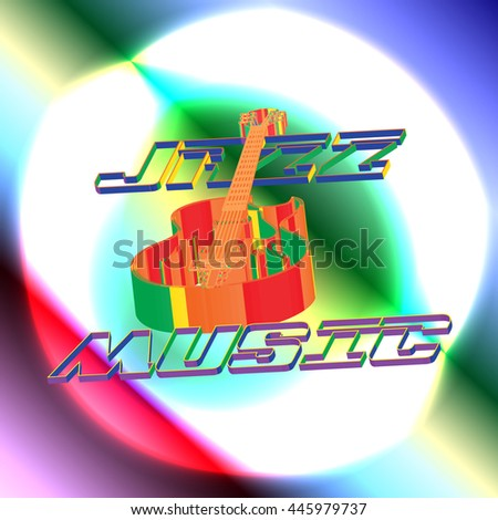 raster version of a music background with a guitar jazz music from the circuit a light background in different colors. - stock photo
