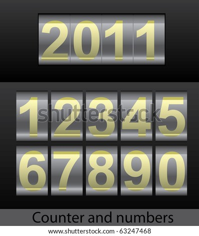 Raster version of counter and mechanical number set (vector available). - stock photo